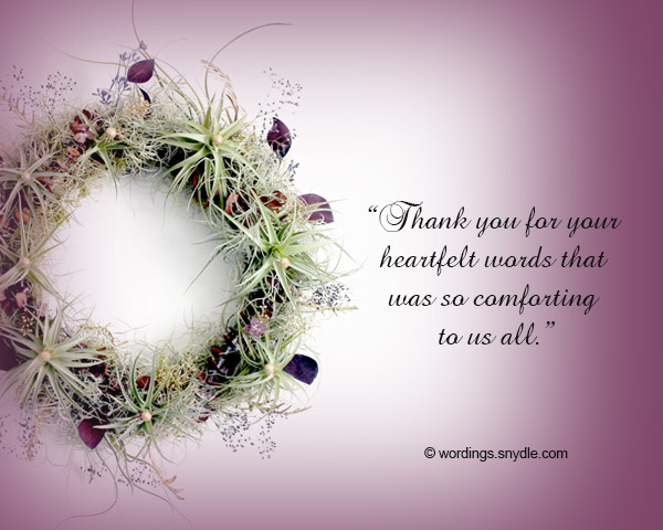 Funeral Thank You Notes Wording - Wordings and Messages - funeral words for cards