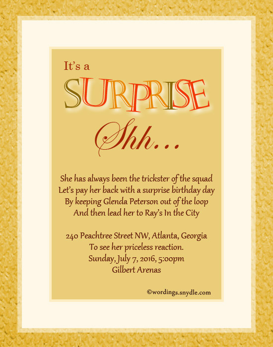 surprise party invitation wording samples - Selol-ink