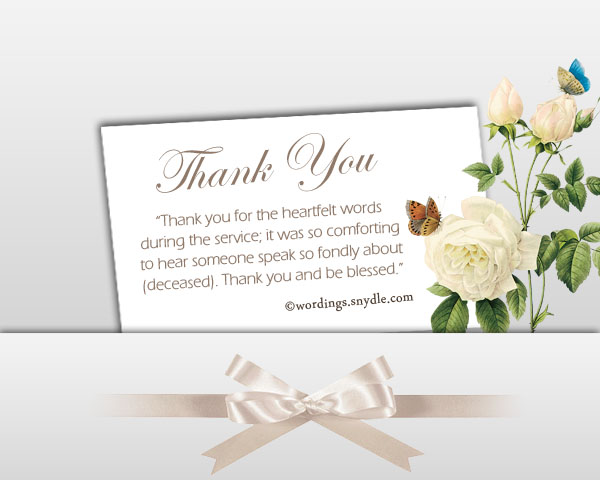 Sympathy Thank You Notes - Wordings and Messages - funeral words for cards