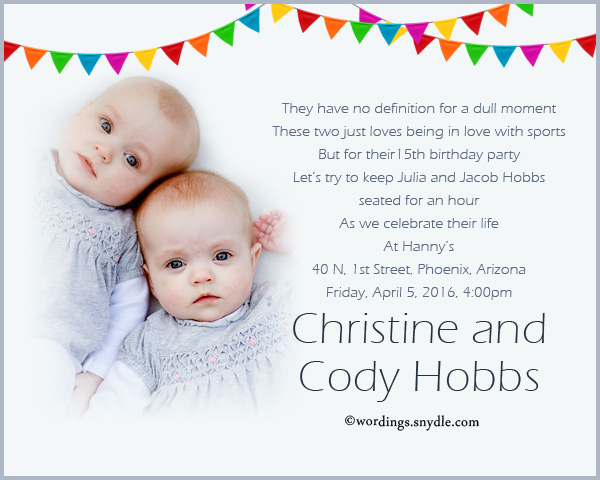 Twin Birthday Party Invitation Wording - Wordings and Messages