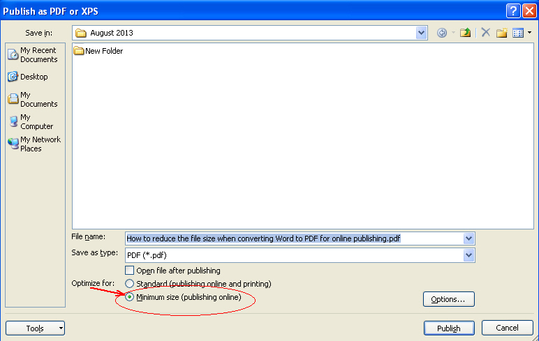 How to reduce file size when converting Word to PDF for online