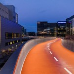 Bike - pedestrian illuminated ramp in Copenhagen