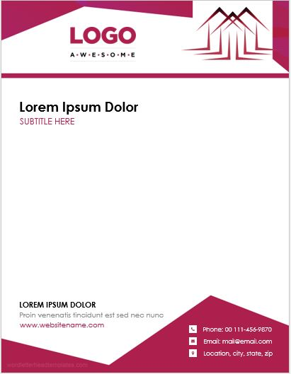 5 Real Estate Agent Office Letterhead Templates Microsoft Word