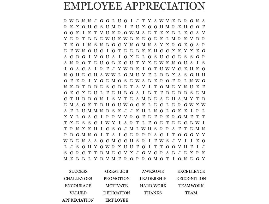 appreciation word for employee