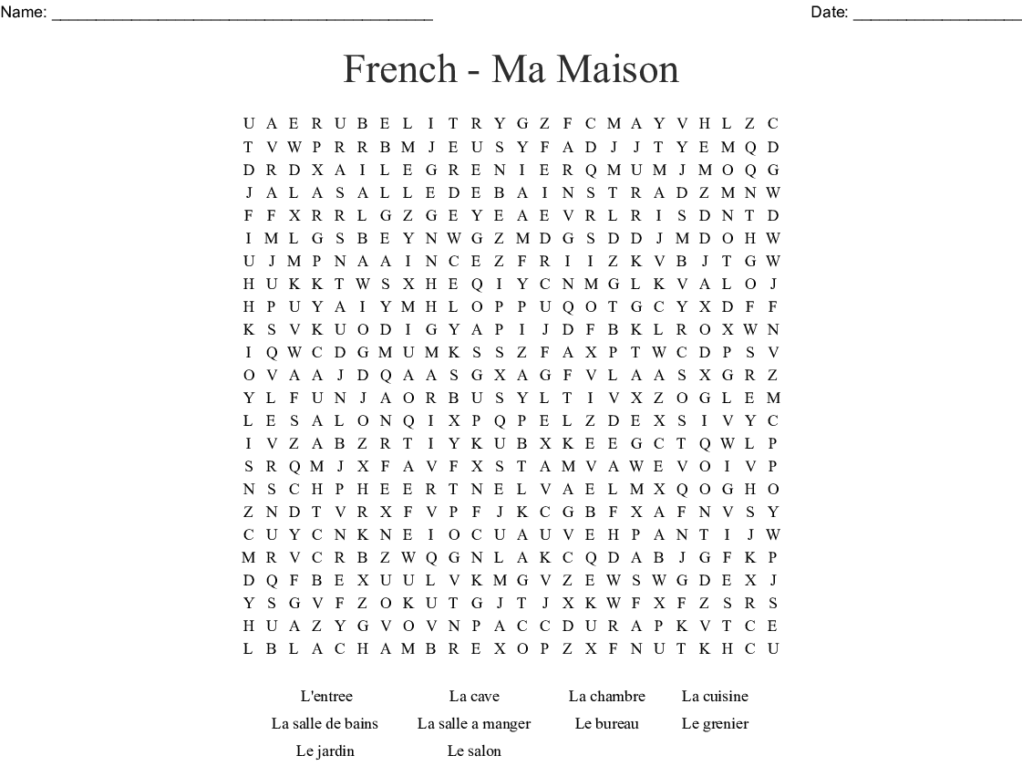 Chambre Word Search French Ma Maison Word Search Wordmint