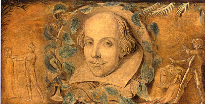 Blake.Head of shakespeare