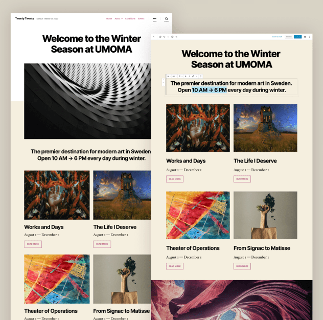 A desktop preview of the Twenty Twenty theme, showing both the front-end and the editor view.