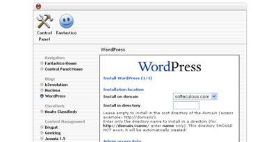 Fantastico WordPress install