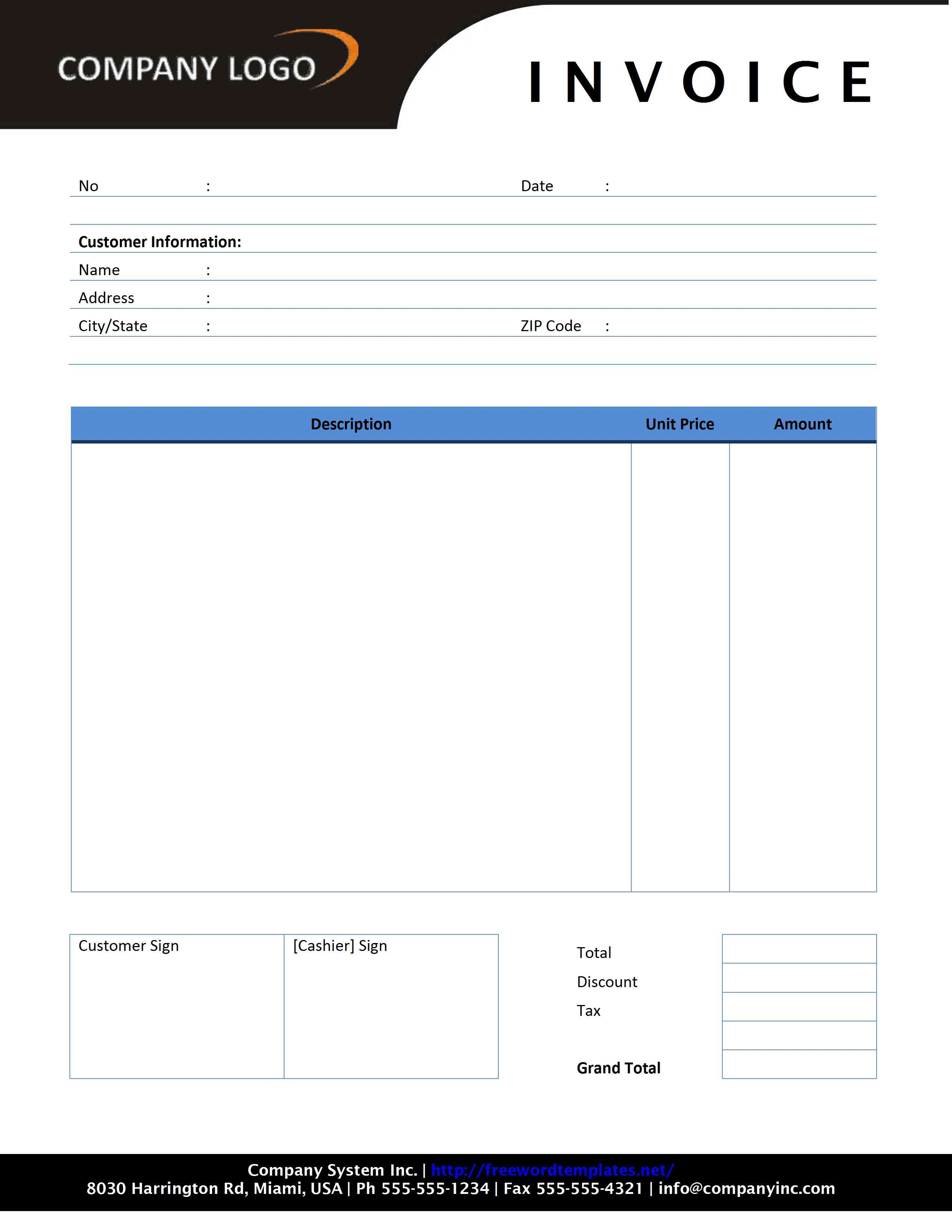 Example Domain Contractor Invoice Template Free Microsoft Word Templates