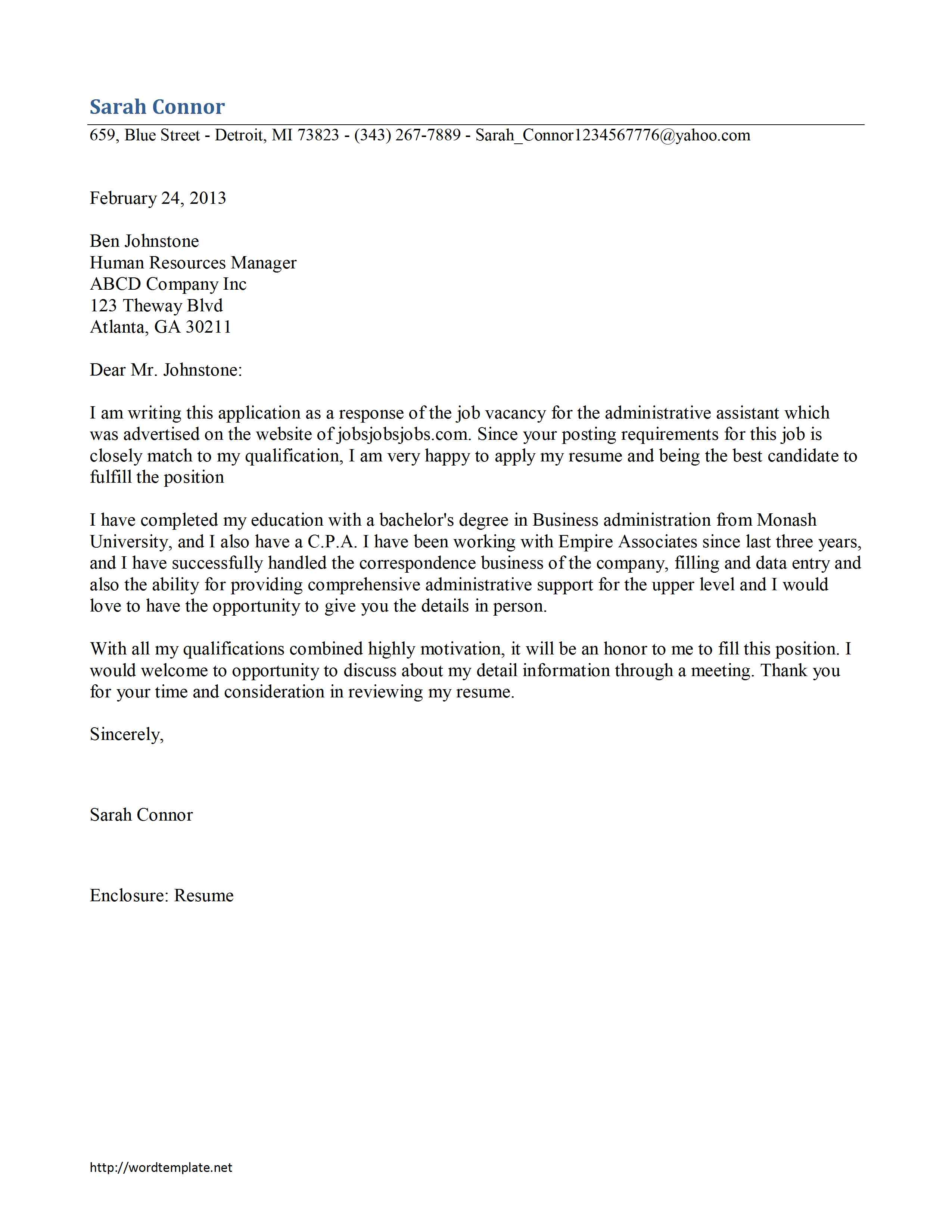 Cover Letter Template For Administrative Assistant – Executive Letter Template