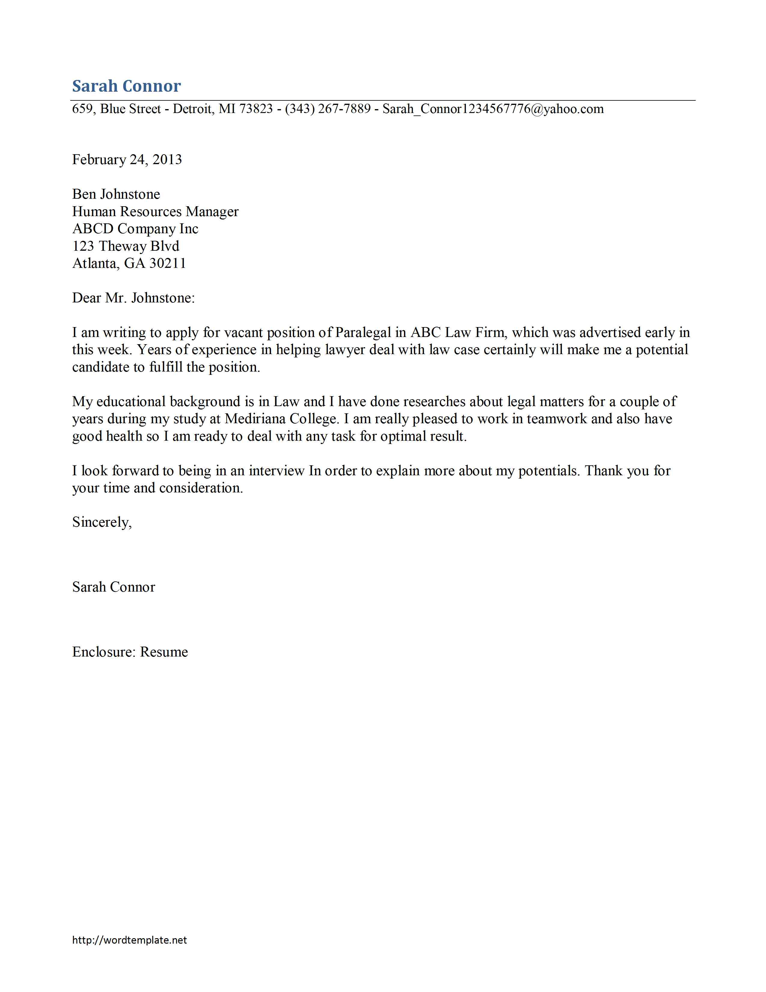 Sample Cover Letters Law Firm BIT Journal