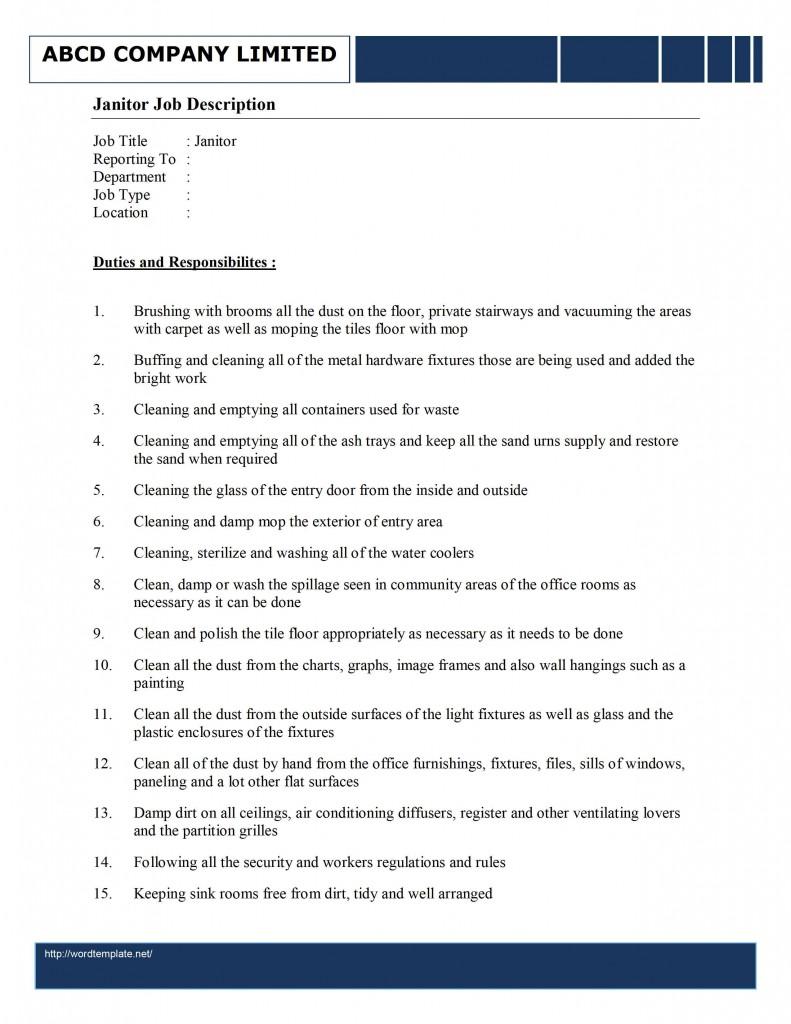 Janitorial sample resume