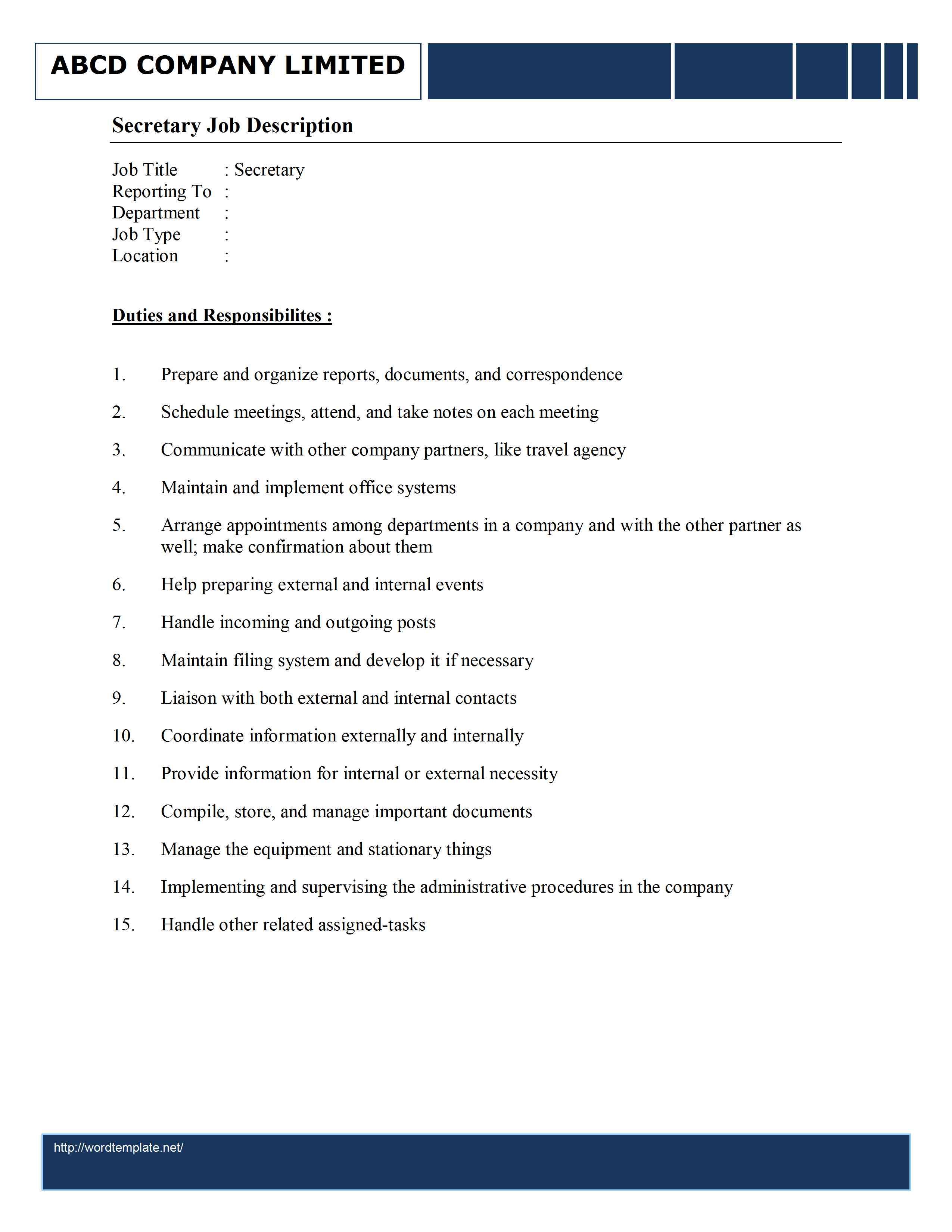 resume job descriptions for waitress sample customer service resume resume job descriptions for waitress job descriptions job description template secretary job description 791x1024 secretary