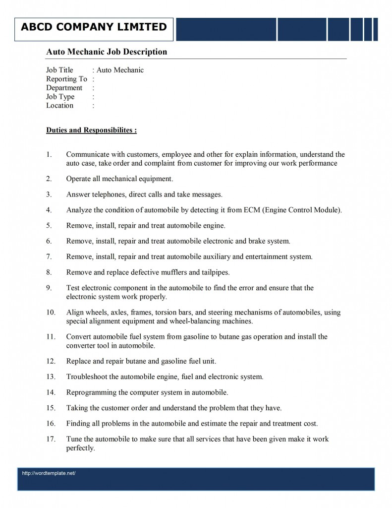 repair technician job description template cover letter template repair technician job description template job description for diesel mechanic template of diesel auto mechanic job