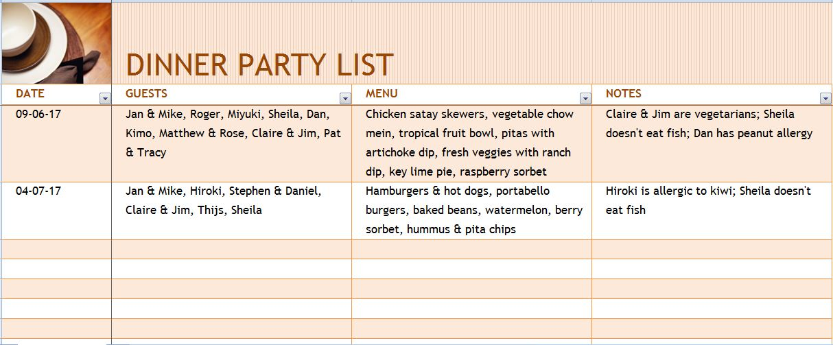 Christmas Dinner Party Menu Template Word Save Template