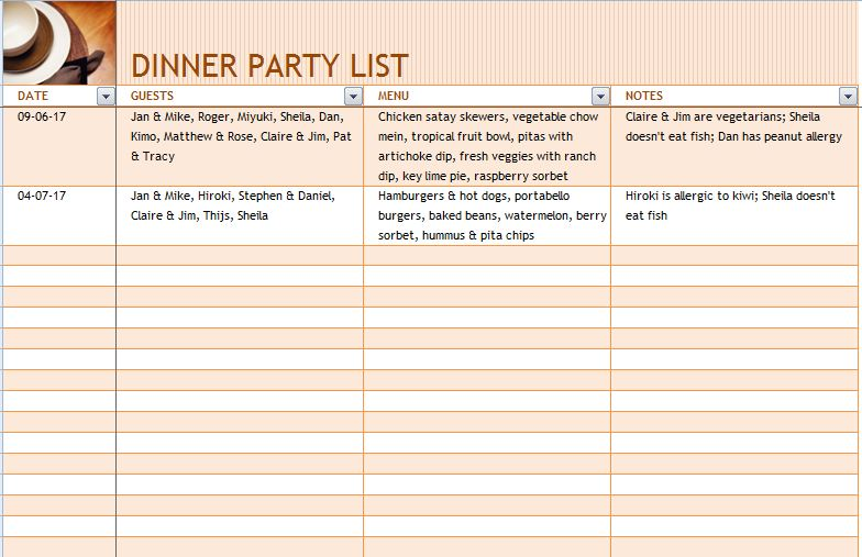 Dinner Party List with Menu Template Formal Word Templates - dinner party menu template