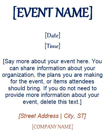 Event Invitation Template (4 Per Page) Formal Word Templates - invitation event sample