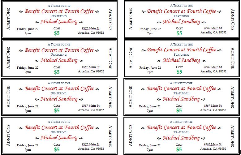 drink ticket template word - Microsoft Word Event Ticket Template
