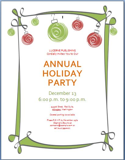 Holiday Party Invitation Template Formal Word Templates