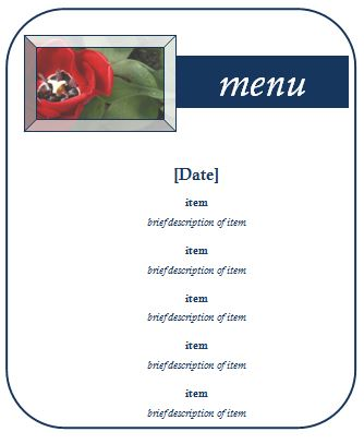 Sample Party Menu Template Formal Word Templates