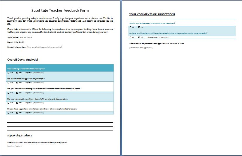 Feedback Form for Substitute Teacher Formal Word Templates