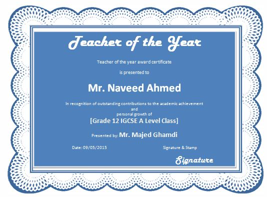 Teacher of the Year Award Certificate Template Formal Word Templates - awards certificates templates for word
