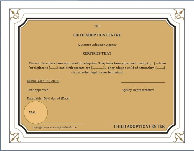 Adoption Certificate Template Here Is His Adoption Certificate - birth certificate template word