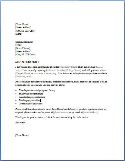 College Study Program Information Requesting Letter Formal Word