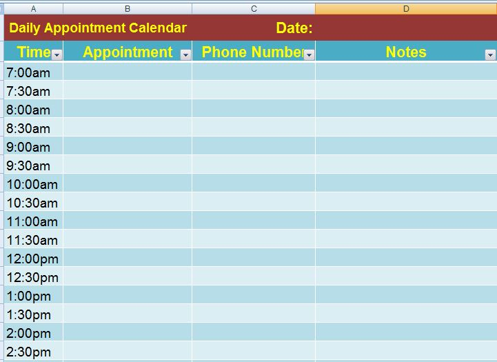 daily appointment calendar template