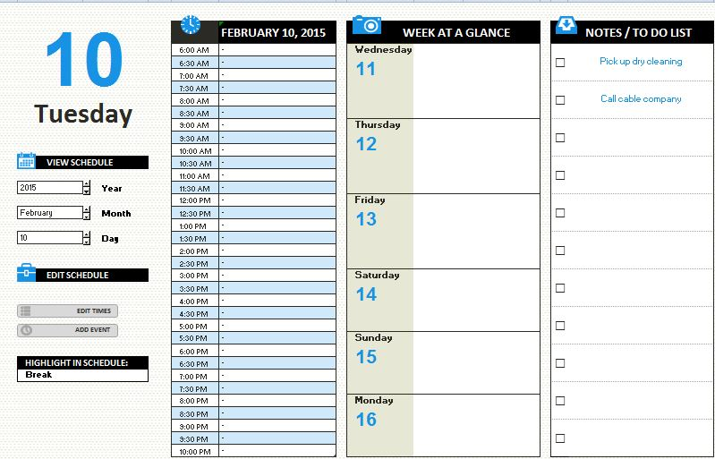 MS Excel Daily Work Schedule Template Formal Word Templates - daily time schedule template