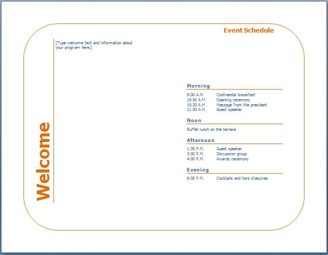 program event template - Roho4senses - Event Program
