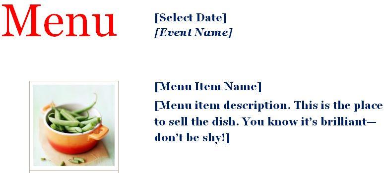 Sample Event Menu Planner Template Formal Word Templates - event menu template