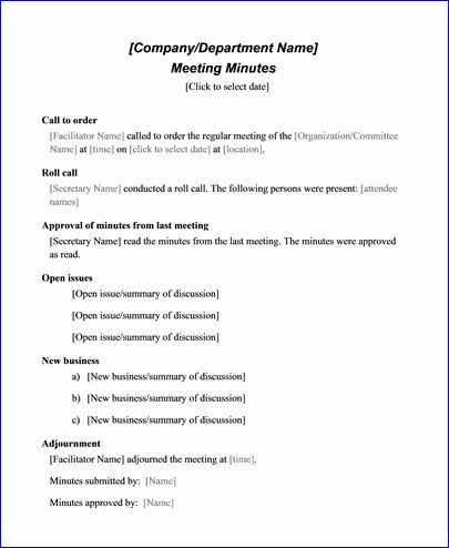 Sample Meeting Minute Templates Formal Word Templates - sample meeting summary template