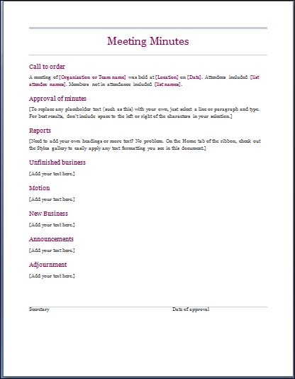 business meeting minutes template free - Canasbergdorfbib