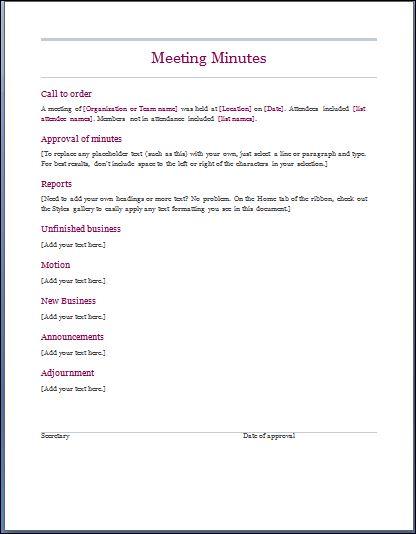 Sample Meeting Minute Templates Formal Word Templates - standard meeting minutes format