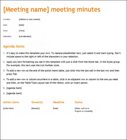 examples of meeting minutes template - Ozilalmanoof - example of meeting minutes template