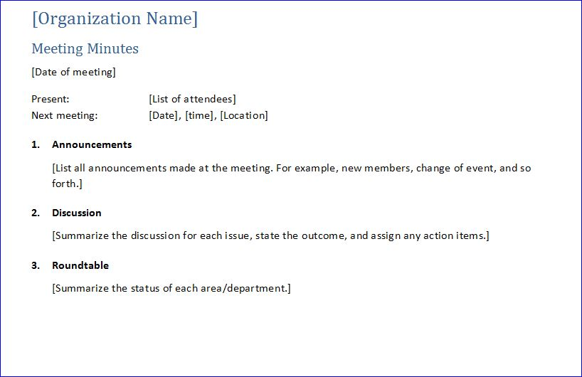Sample Meeting Minute Templates Formal Word Templates - attendees list template