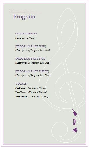 Music Event Program Invitation Template Formal Word Templates - invitation event sample