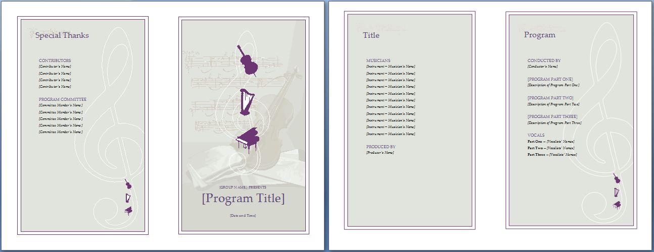 Music Event Program Invitation Template Formal Word Templates
