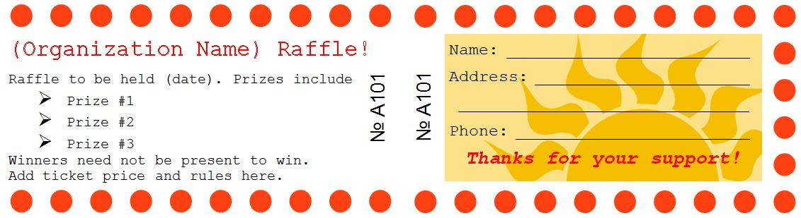 Sample Raffle Ticket Templates Formal Word Templates - raffle ticket prizes