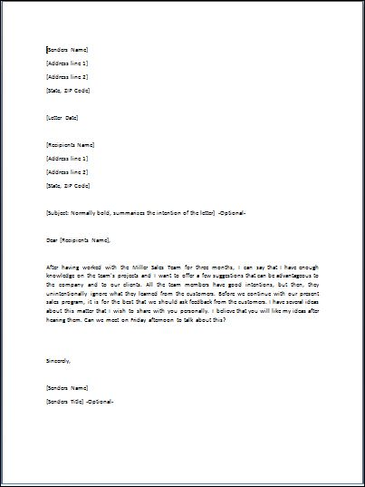 Sample Suggestion Letter Template Formal Word Templates - suggestion letter