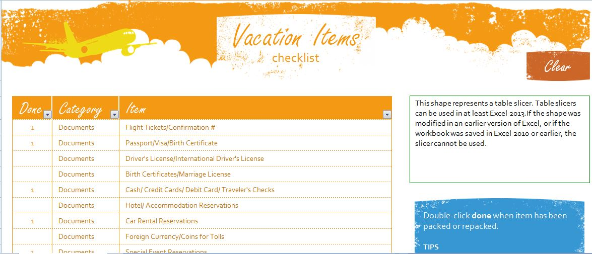 Vacation Checklist Template Choice Image - Template Design Ideas