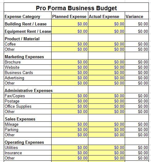 √ Proforma Balance Sheet Template