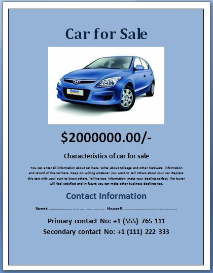 Sample Car for Sale Poster/Flyer Template Formal Word Templates