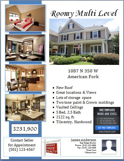 Sample Real Estate Poster Template Formal Word Templates - home for sale template
