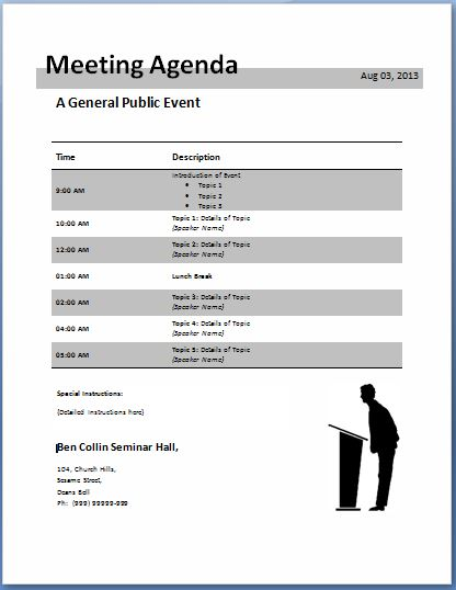 10-Formally used Agenda Templates Formal Word Templates - meeting agenda outline
