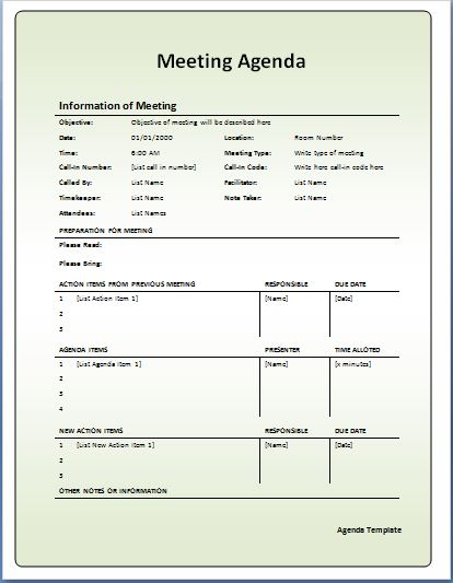 10-Formally used Agenda Templates Formal Word Templates