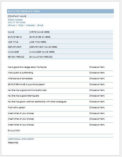 Employee Feedback Form Template for MS Word Formal Word Templates - feedback forms for employees