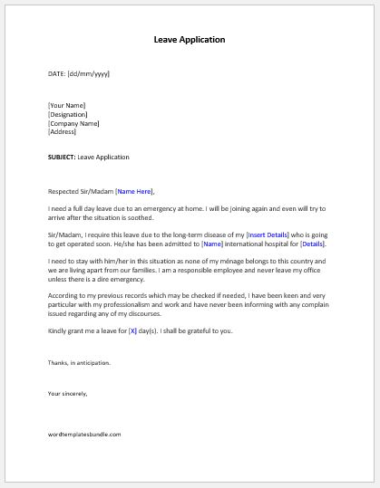 Leave Application Letter Templates Formal Word Templates - casual leave application