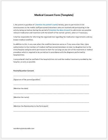 Medical Consent Form Template MS Word Formal Word Templates - medical consent form example